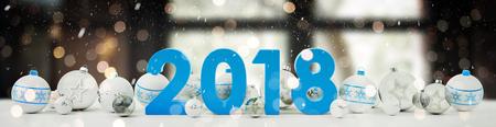 2018 白と青のクリスマスと大晦日雪のつまらない背景 3 D レンダリング