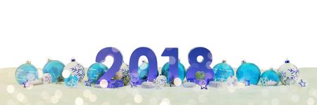 青と白クリスマスつまらないものとキャンドル 3 D レンダリングと 2018年大晦日