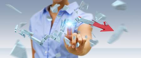 Businesswoman on blurred background with broken crisis arrow 3D rendering