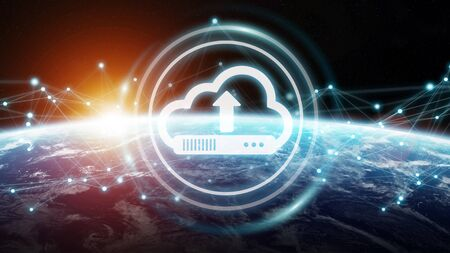 Digital cloud downloading datas over the globe 3D rendering