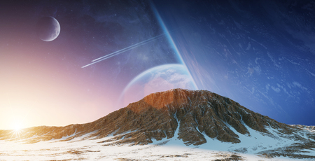Exoplanets in space view from a mountain 3D rendering Foto de archivo