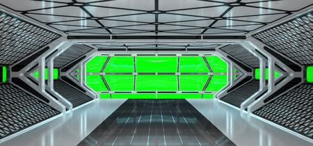 Spaceship bright interior with green window view 3D rendering Stock Photo