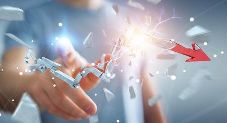 Businessman on blurred background with broken crisis arrow 3D rendering