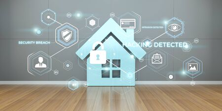 Smarthome security interface in modern interior 3D rendering