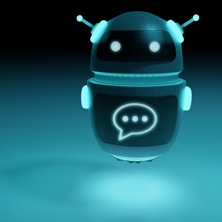 Futuristic digital chatbot on dark background 3D rendering