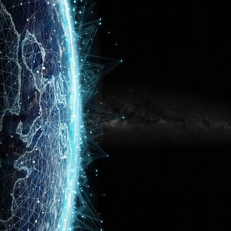 전세계 연결 시스템 및 글로벌 데이터 교환 3D 렌더링 스톡 콘텐츠