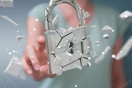 Businesswoman on blurred background hacking in broken padlock security 3D rendering