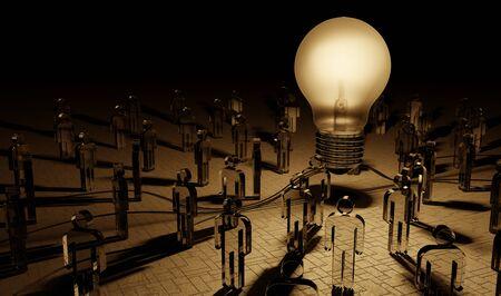 Big lightbulb illuminating a group of people in dark interior 3D rendering 版權商用圖片