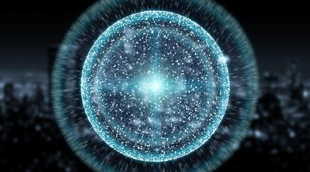 Sphère système sphère et échanges de données globales sur fond de ville rendu 3d Banque d'images - 91519861