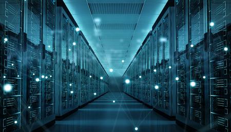 Centro de sala de servidores intercambiando datas cibernéticas y conexiones Representación 3D