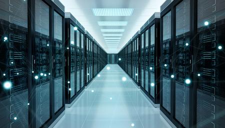 Centrum serwerowni wymieniające dane cybernetyczne i połączenia. Renderowanie 3D