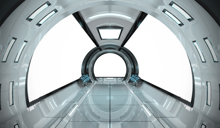 Spaceship bright interior with white window view 3D rendering