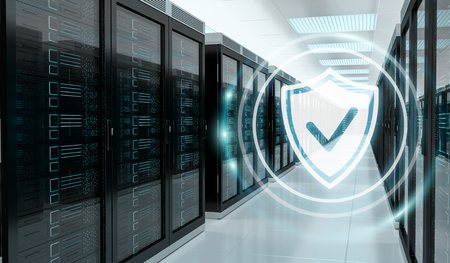 White and blue firewall activated on server room data center 3D rendering Foto de archivo