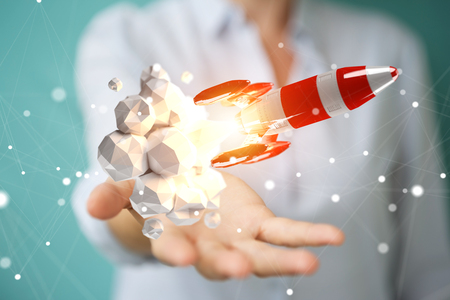 Businesswoman on blurred background holding and touching red rocket 3D rendering