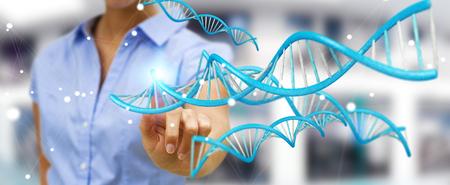 現代のDNA構造3Dレンダリングを使用したぼやけた背景のビジネスウーマン