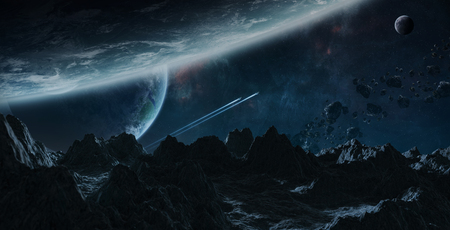 Dark asteroids flying close to planets in space 3D rendering