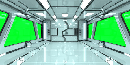Spaceship bright interior with green window view 3D rendering Фото со стока