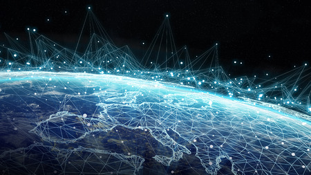 Connections system and global datas exchanges over the globe 3D rendering Banco de Imagens - 91857242