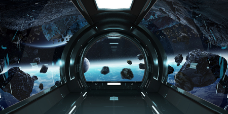 Spaceship dark interior with view on distant planets system 3D rendering