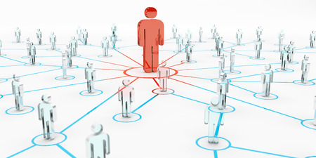Leader connecting a group of people on white background 3D rendering