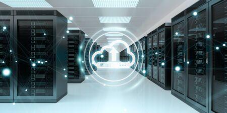 Cloud icon downloading datas and informtations in server room center interior 3D rendering Reklamní fotografie