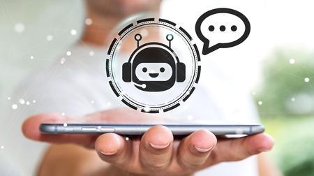Hombre de negocios en fondo borroso charlando con la aplicación de chatbot 3D Foto de archivo - 91733032