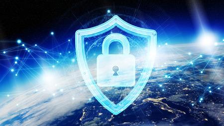 Cyberbeveiliging en verbindingen over de hele wereld 3D-renderingelementen van deze afbeelding geleverd door NASA Stockfoto