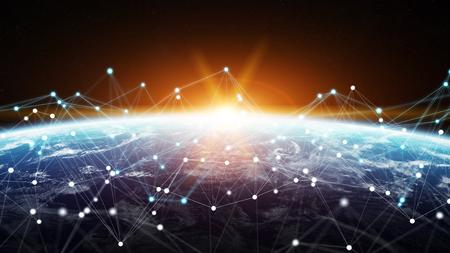 接続システムとグローバルデータがグローブ3Dレンダリングを通して交換