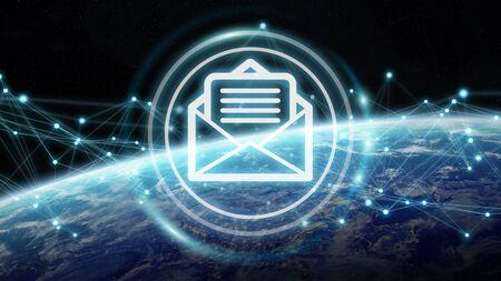 전세계 전자 메일 교환 및 연결 3D 렌더링 스톡 콘텐츠