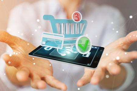 Geschäftsfrau auf unscharfem Hintergrund unter Verwendung der Wiedergabe der kontaktlosen Terminalzahlung 3D Standard-Bild
