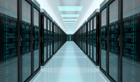 Bright server room data center storage interior 3D rendering Stok Fotoğraf