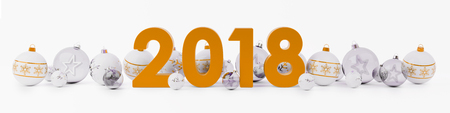 2018 new year eve with white and orange christmas baubles on snow background 3D rendering Stock Photo