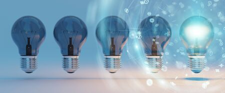 Bright lightbulbs and connections  lined up on blue background 3D rendering