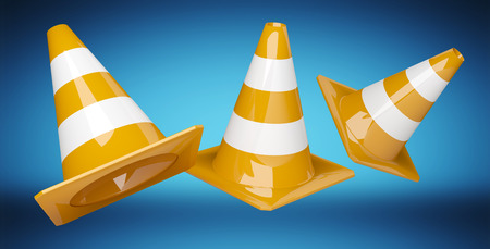 Digital 3D rendering under construction signs on blue background 版權商用圖片 - 92578917