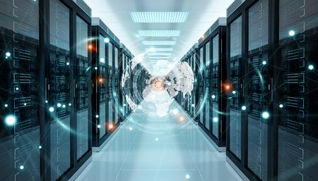 サーバールームデータセンターの3Dレンダリングを飛行するデジタルホワイトアースネットワーク