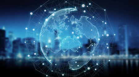 Connections system sphere global world view on city background 3D rendering Stock Photo