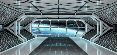 Spaceship bright interior with view on planet Earth Stock Photo