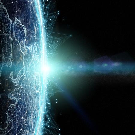 Sistema de conexiones e intercambios de datos globales en todo el mundo Elementos de representación 3D de esta imagen proporcionada por la NASA Foto de archivo