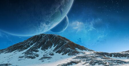 Exoplanets in space view from a mountain 3D rendering elements of this image furnished by NASA