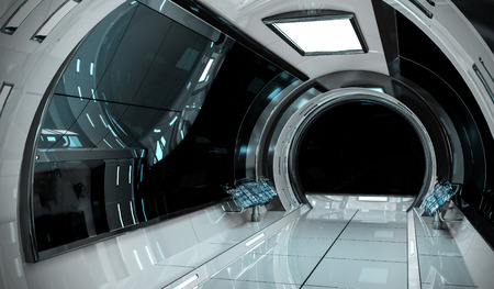 Spaceship bright interior with black window view 3D rendering