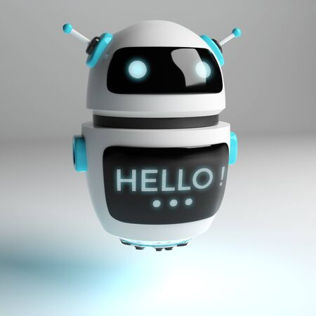 Futuristic digital chatbot on grey background 3D rendering 版權商用圖片