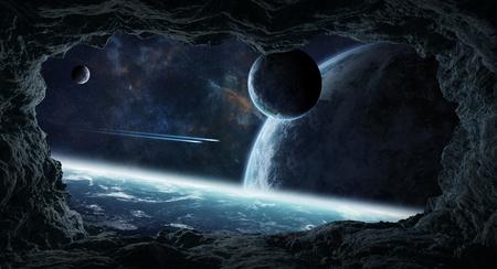 Asteroides oscuros volando cerca de los planetas vista de una cueva Elementos de representación 3D de este Foto de archivo