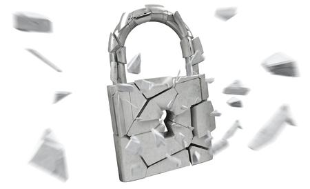 Broken padlock security on white background 3D rendering