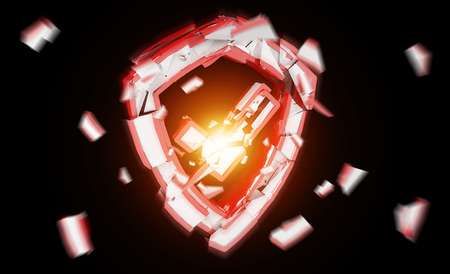 Shield security break isolated on blakc background 3D rendering
