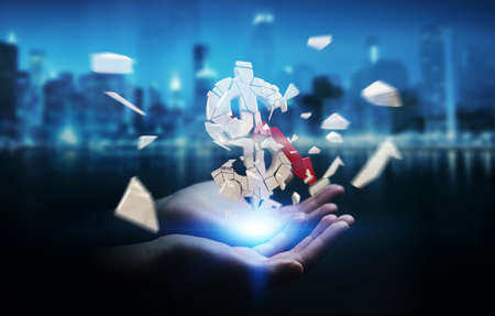 Businesswoman on blurred background with exploding dollar currency 3D rendering