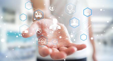 Businessman on blurred background using modern medical interface 3D rendering
