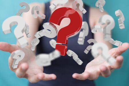 Businesswoman on blurred background using 3D rendering question marks
