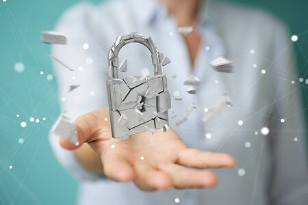 Businesswoman on blurred background hacking in broken padlock security 3D rendering