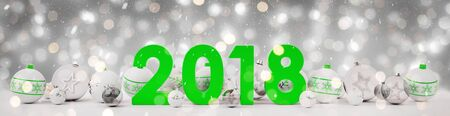 2018 new year eve with white and green christmas baubles on snow background 3D rendering Stock Photo