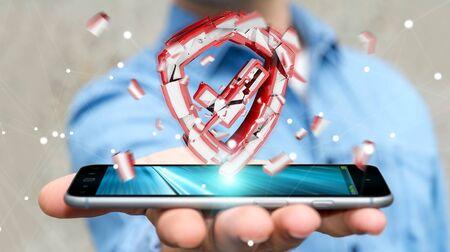 Businessman on blurred background facing security break 3D rendering